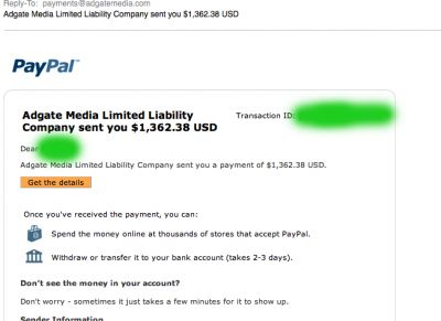 adgate media payment proof