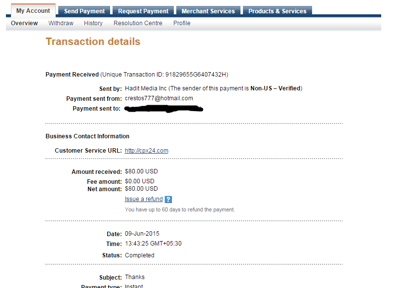 cpx24 payment proof