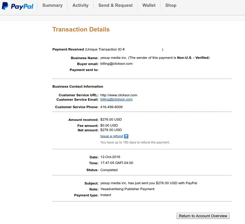 yesadvertising payment proof and review