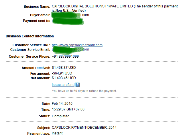 Capslock ad network payment proof