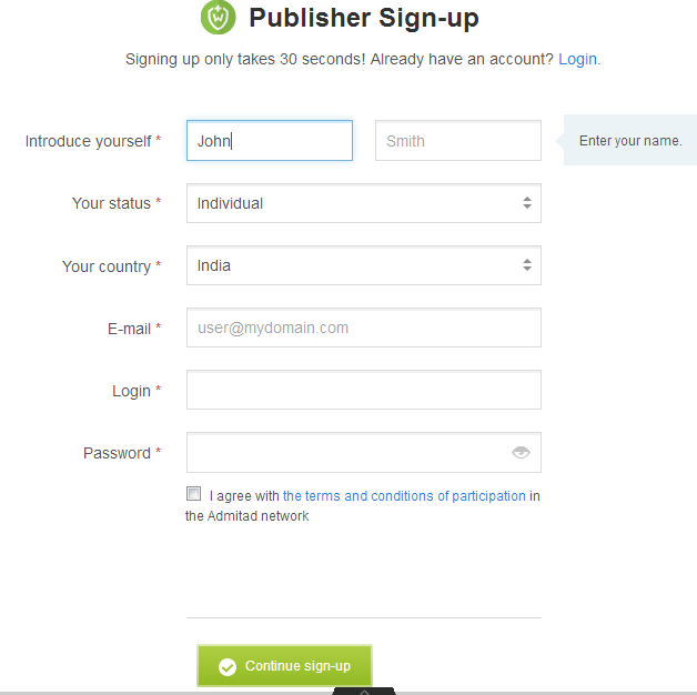 publisher sign up page